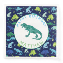 Kids Personalized Dinosaur Birthday Party Pattern Paper Dinner Napkins
