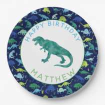 Kids Personalized Dinosaur Birthday Party Pattern Paper Plate