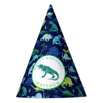 Kids Personalized Dinosaur Birthday Party Pattern Party Hat