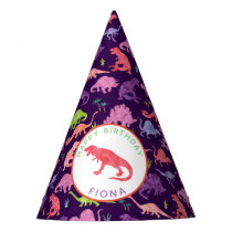 Kids Personalized Dinosaur Birthday Party Purple Party Hat