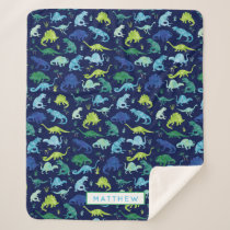 Kids Personalized Dinosaur Blue Green Boys Pattern Sherpa Blanket