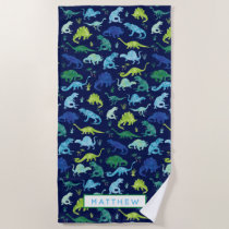 Kids Personalized Dinosaur Blue Watercolor Beach Towel