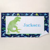 Kids Personalized Dinosaur Blue Watercolor T-Rex Beach Towel