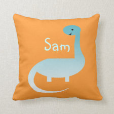 Kids Personalized Dinosaur Name Throw Pillow