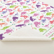 Kids Personalized Dinosaur Pink Purple Girls White Sherpa Blanket