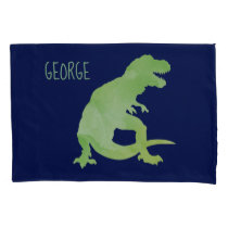 Kids Personalized Dinosaur Silhouette Green Blue Pillow Case
