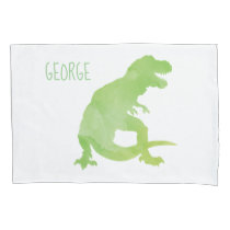 Kids Personalized Dinosaur Silhouette Green White Pillow Case