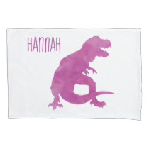 Kids Personalized Dinosaur Silhouette Purple Girls Pillow Case