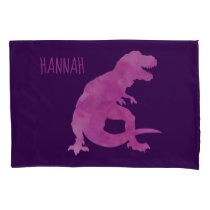 Kids Personalized Dinosaur Silhouette Purple Pink Pillow Case