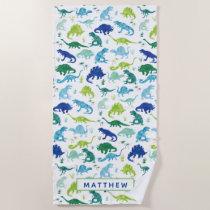 Kids Personalized Dinosaur Watercolor Pattern Beach Towel
