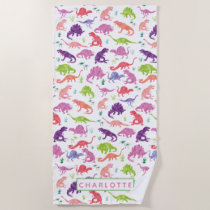 Kids Personalized Dinosaur Watercolor Pattern Beach Towel