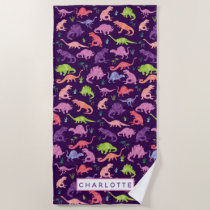 Kids Personalized Dinosaur Watercolor Purple Girls Beach Towel