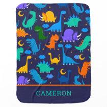 Kids Personalized Dinosaurs At Night Blue Orange Baby Blanket