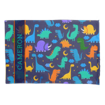 Kids Personalized Dinosaurs At Night Blue Orange Pillow Case