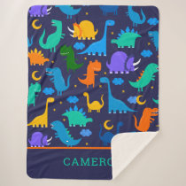 Kids Personalized Dinosaurs At Night Blue Orange Sherpa Blanket