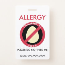 Kids Personalized Egg Allergy Emergency Badge