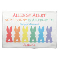 Kids Personalized Food Allergy Custom Bunny Cloth Placemat