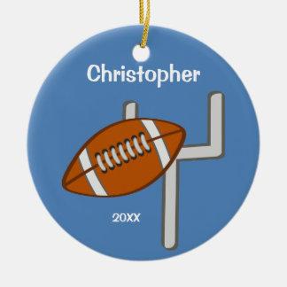 Kids Personalized Football Keepsake Double-Sided Ceramic Round Christmas Ornament