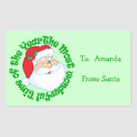 Kids Personalized from Santa Gift Tag Rectangular Sticker