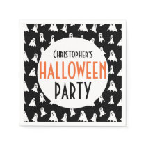 Kids Personalized Ghost Pattern Halloween Party Napkins