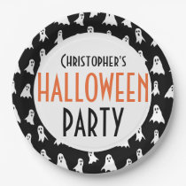 Kids Personalized Ghost Pattern Halloween Party Paper Plate