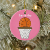 Kids Personalized Girl Basketball Pink Keepsake Ceramic Ornament