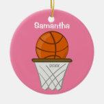 Kids Personalized Girl Basketball Pink Keepsake Ornaments