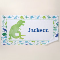 Kids Personalized Green Dinosaur Watercolor T-Rex Beach Towel