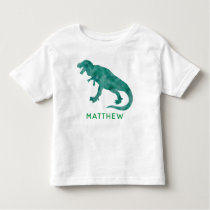 Kids Personalized Green Watercolor Dinosaur Toddler T-shirt