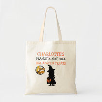Kids Personalized Halloween Nut Free Witch Tote Bag