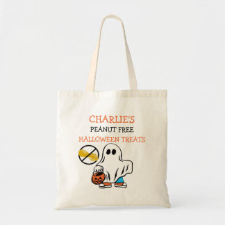 Kids Personalized Halloween Peanut Free Ghost Tote Bag