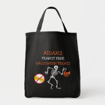 Kids Personalized Halloween Peanut Free Skeleton Tote Bag