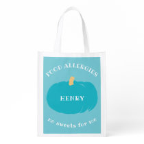 Kids Personalized Halloween Teal Pumpkin Allergy Grocery Bag