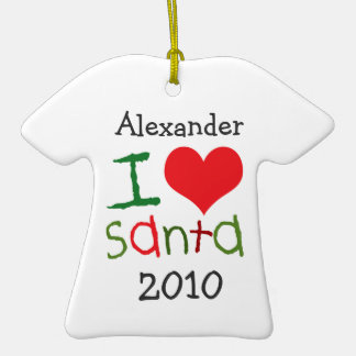 Kids Personalized I Love Santa Holiday Ornament