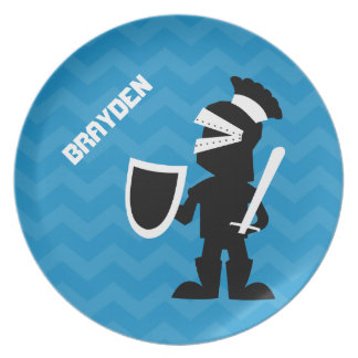 Kids Personalized Knight Blue Chevron Melamine Plate