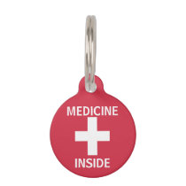 Kids Personalized Medicine Inside Emergency Info Pet Name Tag