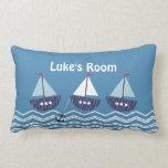 Kids Personalized Nautical Sail Boats Cushion Throw Pillows