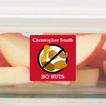 Kids Personalized Nut Allergy Symbol No Nuts Labels