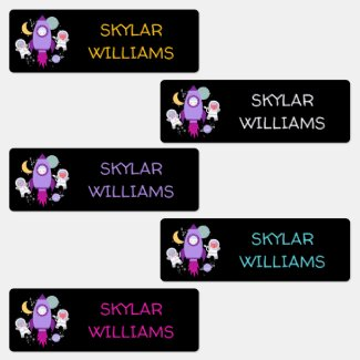 Kids Personalized Outer Space Cats Astronaut Kids' Labels