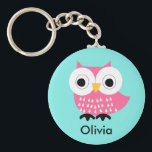 "Kids Personalized Owl Key Chain<br><div class=""desc"">This kids personalized key chain features a cute hot pink owl on a bright blue background.  The background color or the key chain can be altered in the design area when you personalize it. It&#39;s suitable for a young girl who like owls.</div>"