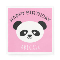 Kids Personalized Panda Bear Kawaii Birthday Pink Napkin