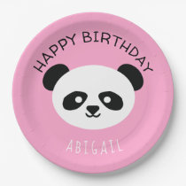 Kids Personalized Panda Bear Kawaii Birthday Pink Paper Plate