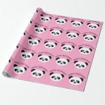 Kids Personalized Panda Bear Kawaii Birthday Pink Wrapping Paper