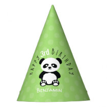 Kids Personalized Panda Kawaii Birthday Green Party Hat