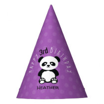 Kids Personalized Panda Kawaii Birthday Purple Party Hat