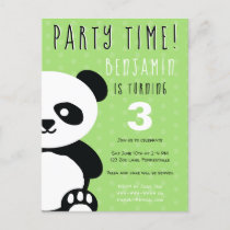 Kids Personalized Panda Kawaii Green Birthday Invitation Postcard