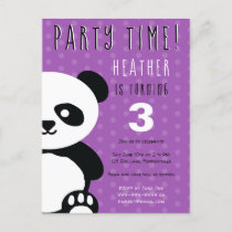 Kids Personalized Panda Kawaii Purple Birthday Invitation Postcard