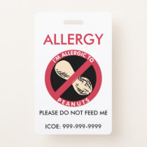 Kids Personalized Peanut Allergy Emergency Badge