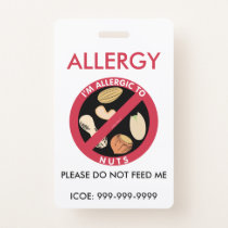 Kids Personalized Peanut Nut Allergy Emergency Badge