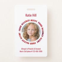 Kids Personalized Photo Food Allergy Medical Alert Badge